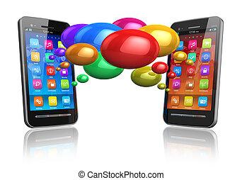 parole, coloré, bulles, smartphones