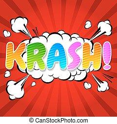 parole, comique, -, krash!, bulle