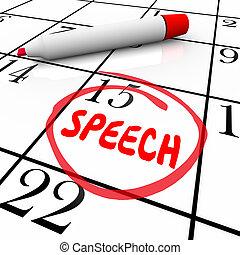parole, date, entouré, calendrier, important, parler, engagement, remin