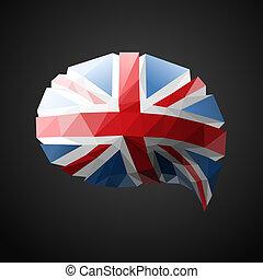 parole, drapeau, bulle, britannique, fond