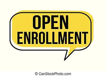 parole, enrollment, bulle, ouvert