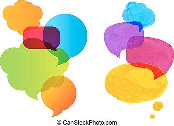 parole, ensemble, bulle, coloré