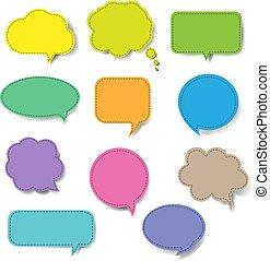 parole, ensemble, bulle, isolé, coloré