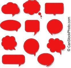 parole, ensemble, bulle, isolé, rouges