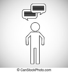 parole, gens, bulle, icône