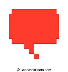 parole, message, bulle, rouges, icône