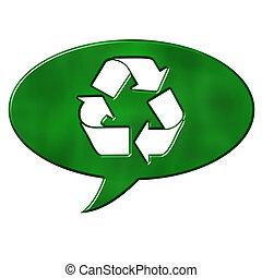 parole, recyclage, bulle, signe