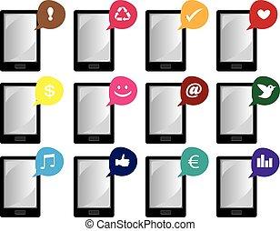 parole, vecteur, icônes, intelligent, internet, bulles, téléphone, symboles