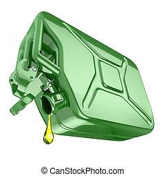 parowozowy olej, ostatni, kropla, jeden, zielony, opał, canist, jerrycan.
