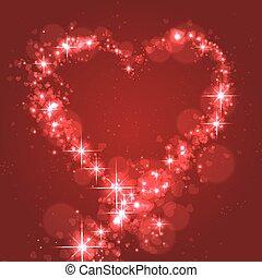 parpadeo, forma, de, corazón, para, amor