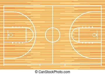 parqué, baloncesto, madera, tribunal
