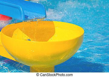 parque água, escorregar, aqua, luminoso