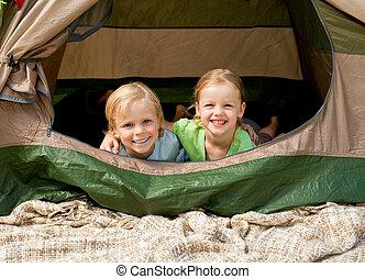 parque, acampamento, família, feliz