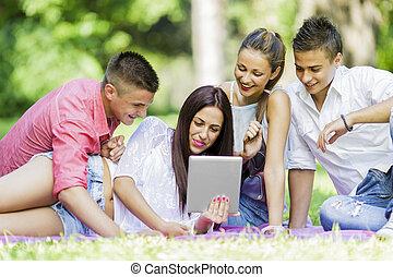 parque, adolescentes, tabuleta