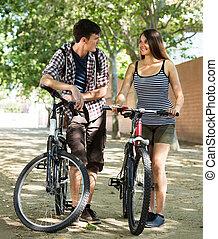 parque, bicicletas equitação, par