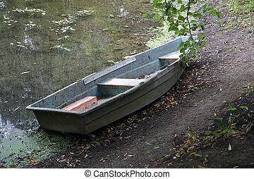 parque, bote, antigas, tarde, ferro