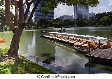 parque, bote