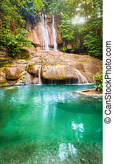 parque, cachoeira, nacional, tailandia, erawan, bonito