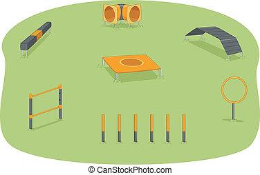 parque cachorro, agilidade, teste