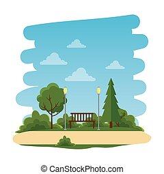 parque, cadeira, recreacional, natural, cena