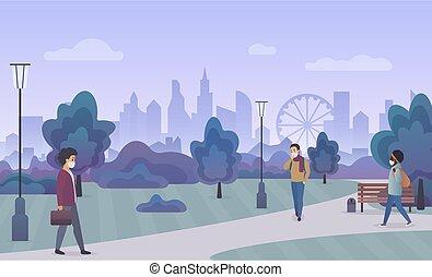 parque, cara, público, calle, ambulante, gente, llevando, ...