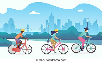 parque, cara, vector, público, calle., bicicletas, gente, ...