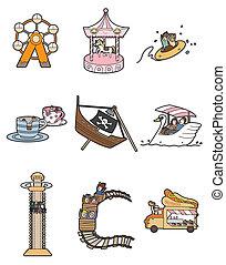 parque, caricatura, diversión, icono