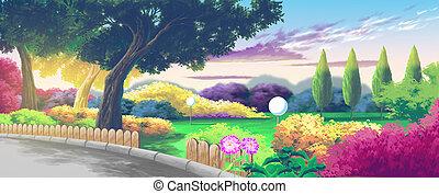 parque, caricatura, paisagem, agradável