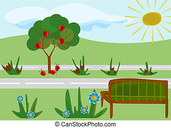 parque, caricatura, pueril