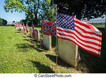 parque, cementerio nacional, appomattox, confederado