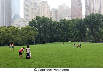 parque, central, york, nuevo, gente