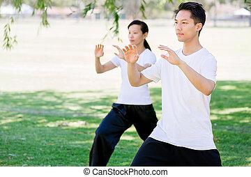 parque, chi, tailandés, practicar, gente