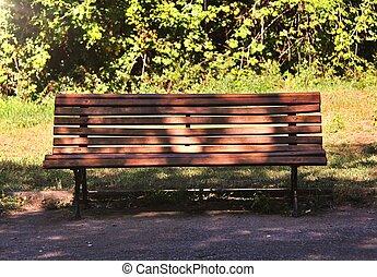 parque cidade, banco, madeira, público