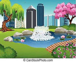 parque cidade, ilustração