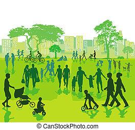 parque cidade, lazer, pessoas
