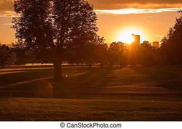 parque cidade, pôr do sol, denver