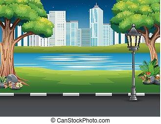 parque cidade, paisagem, com, rio, e, urbano, fundo