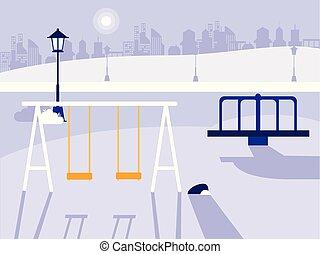 parque, con, patio de recreo, aislado, icono