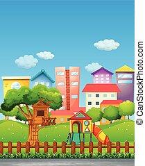 parque, con, patio de recreo, en, el, vecindad