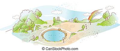 parque, con, piscina