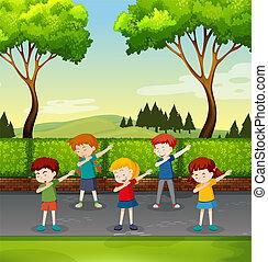 parque, conjunto, dabbing, niños