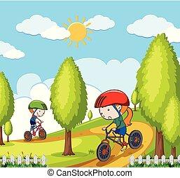 parque, criança, equitação bicicleta