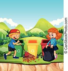 parque, crianças, folha, limpeza