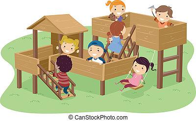 parque, crianças, stickman, tocando