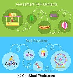parque de atracciones, elementos, conjunto, vector, ilustración