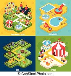 parque de atracciones, isométrico, 4, iconos, cuadrado
