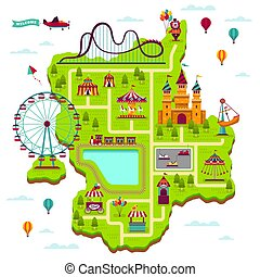 parque de atracciones, map., esquema, elementos, atracciones, fiesta, divertir, funfair, ocio, familia , recinto ferial, niño, juegos, caricatura, mapa