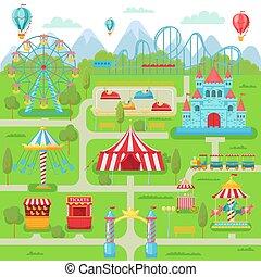 parque de atracciones, map., familia , entretenimiento, fiesta, atracciones, carrusel, montaña rusa, y, rueda de ferris, vector, ilustración