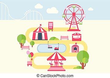 parque de atracciones, mapa, infographic, elementos, atracciones, y, carruseles, vector, ilustración, en, plano, estilo