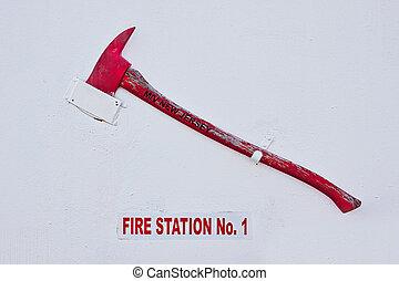 parque de bomberos, hacha